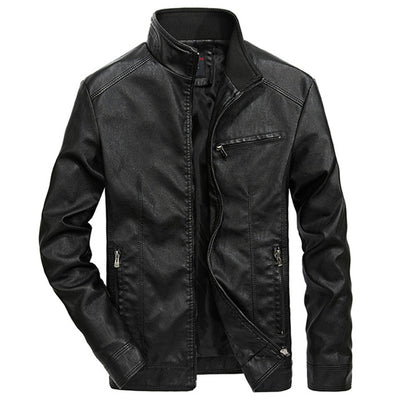 Men Autumn Solid Stand Collar PU Leather Jacket - Top Sale Item