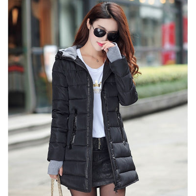 Winter hooded warm coat plus size candy color cotton padded jacket