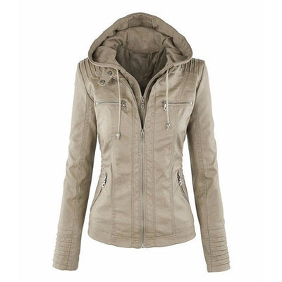 Faux Leather Hooded Spring Jacket Women Autumn Motorcycle Jacket - Top Sale Item