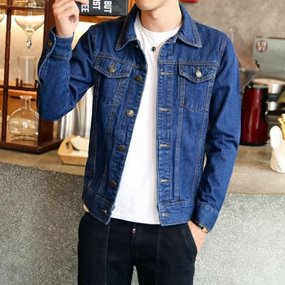 Spring Autumn Mens Denim Jacket Mens Trendy Fashion Bomber Thin Ripped Denim Jacket