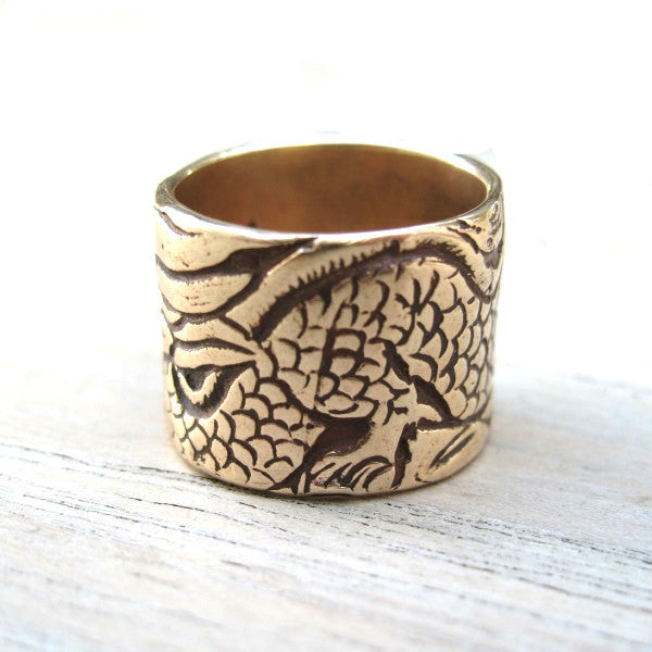 Shantaram Bronze Ring with Dragon