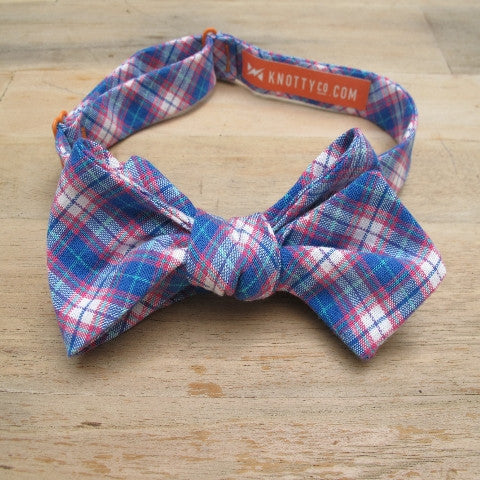 Self-Tie Bow Tie - Blue, White & Red Plaid