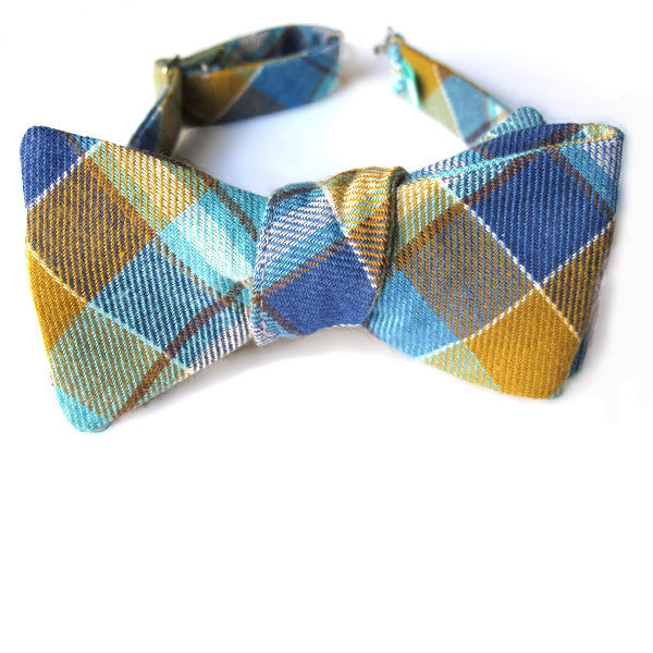 Self-Tie & Adjustable Bow Tie - Baker Beach Blue Plaid