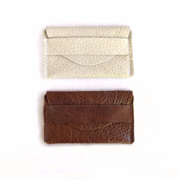 Fold Over Card Case - Bison Leather