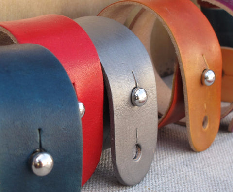 Wide Leather Wrist Cuff - Mixed Colors