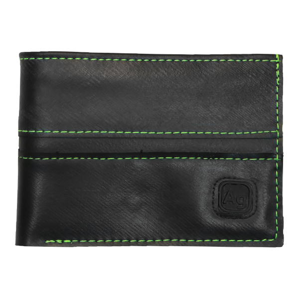 Bike Tube Wallet - Green Stitching