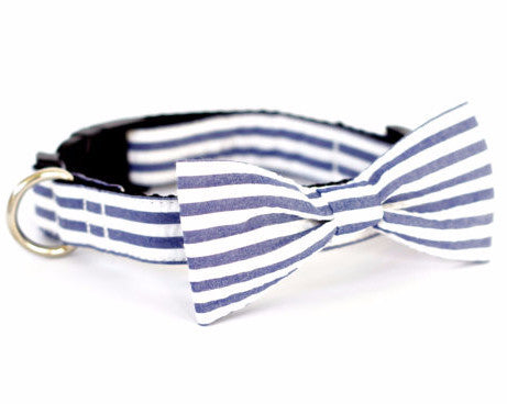 Bow Tie Dog Collars - Striped Blue/Gray Seersucker