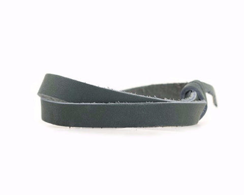Leather Wrist Band with Adjustable Slide Knot - Ocean Green