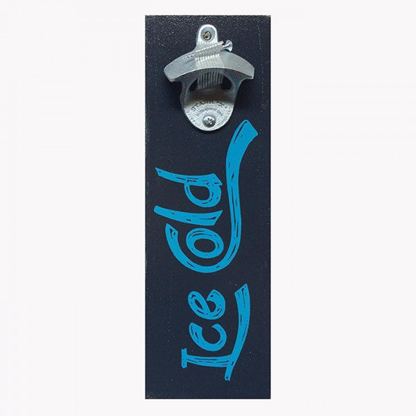"Wall Mount Bottle Opener - Blue ""Ice Cold"" on Black"