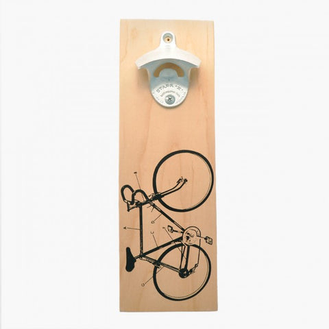 Wall Mount Bottle Opener - Bike Diagram (Natural)