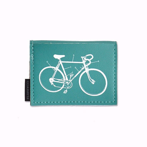 Vegan Mini Wallet - Teal with Bike Diagram