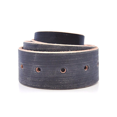 Distressed Black Leather Belt with Raw Edges