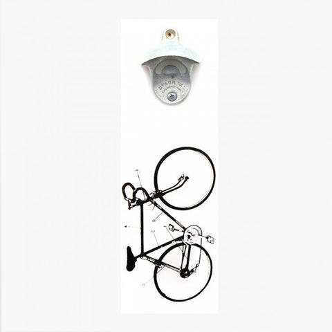 Wall Mount Bottle Opener - Bike Diagram (White)