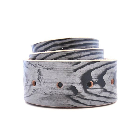 Grey Woodgrain Leather Belt with Raw Edges