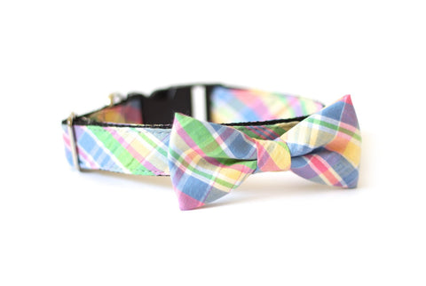 Bow Tie Dog Collars - Spring Seersucker Plaid