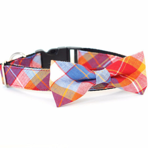 Bow Tie Dog Collars - Red Plaid