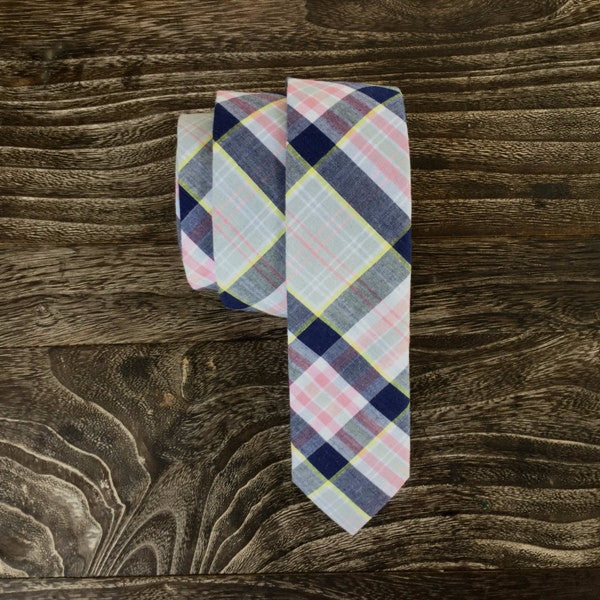 Skinny Tie - Madras Cotton with Gray, Navy, Pink, Yellow & White