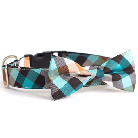 Bow Tie Dog Collars - Emerald Plaid