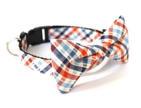 Bow Tie Dog Collars - Orange & Blue Plaid Seersucker