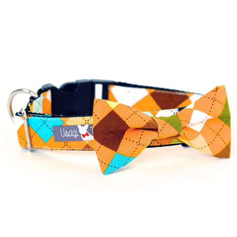 Bow Tie Dog Collars - Orange Argyle