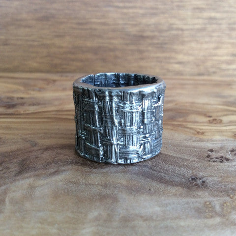 Pewter Band Ring - Woven