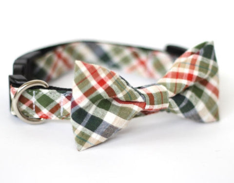 Bow Tie Dog Collars - Plaid Green Seersucker