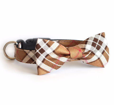 Bow Tie Dog Collars - Plaid Tan