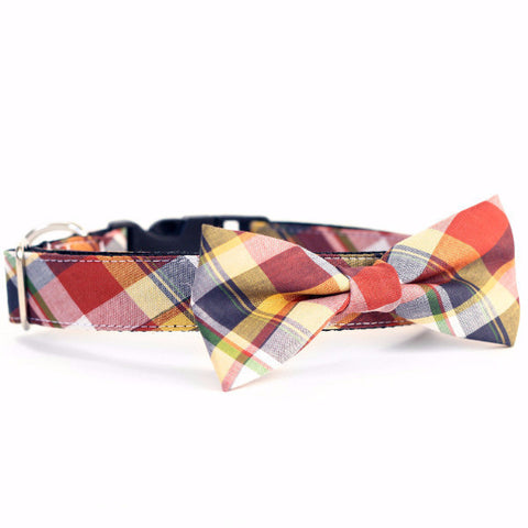 Bow Tie Dog Collars - Presidio Yellow Plaid