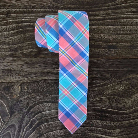 Skinny Tie - Madras Cotton with Teal, Blue, Pink, Yellow & White