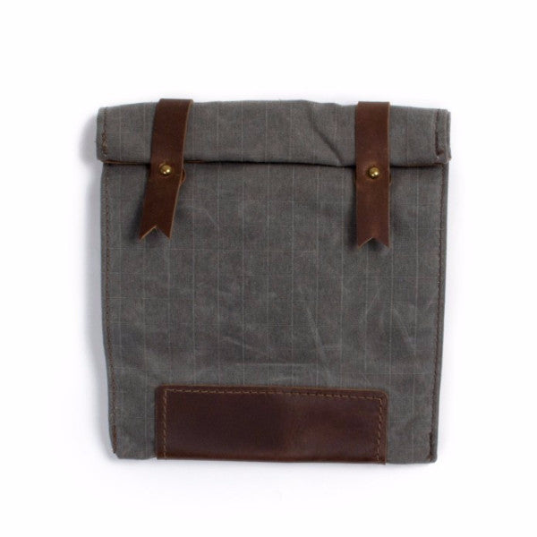 Dispatch Lunch Bag - Gray Waxed Canvas & Brown Leather