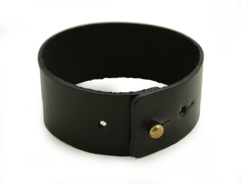 Wide Leather Wrist Cuff - Black