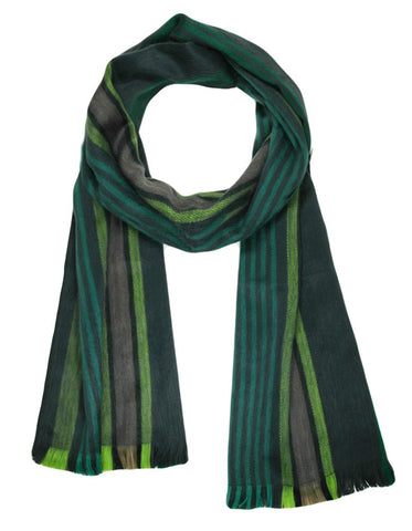 Alpaca Scarf - Striped Forest Green