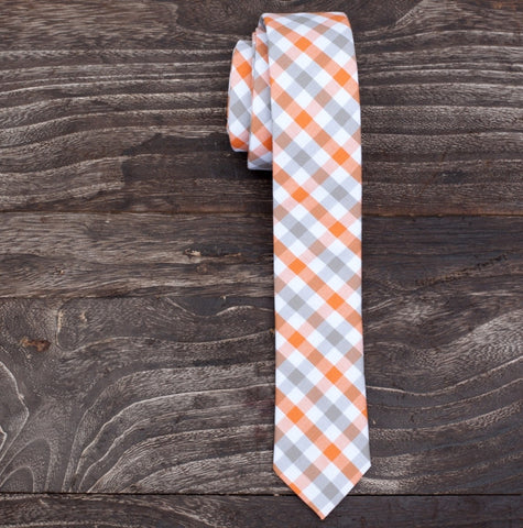 Skinny Tie - Orange & Grey Checkered