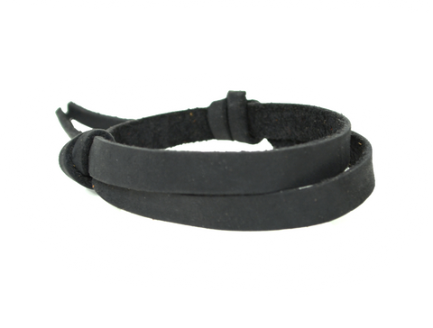 Leather Wrist Band with Adjustable Slide Knot - Black