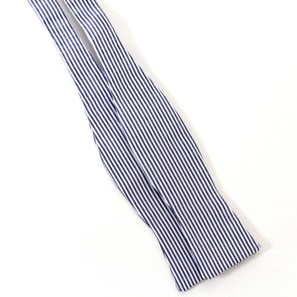 Self-Tie Bow Tie - Blue & Gray Stripes