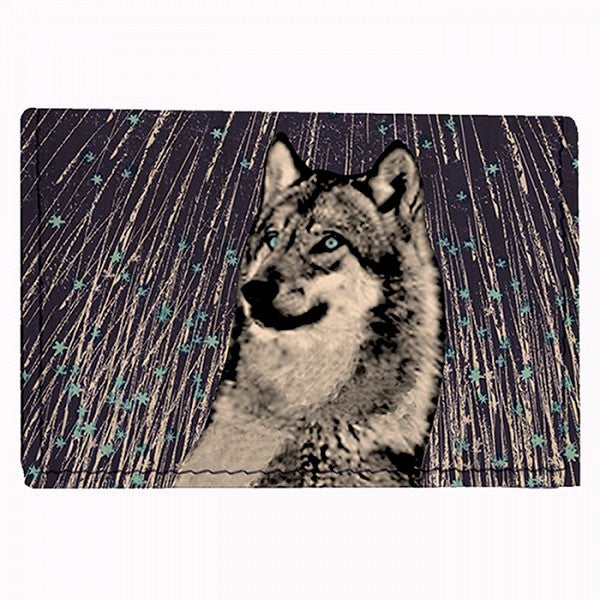 Leather Wallet / Card Case - Star Wolf