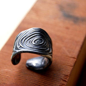 Pewter Adjustable Woodgrain Band Ring