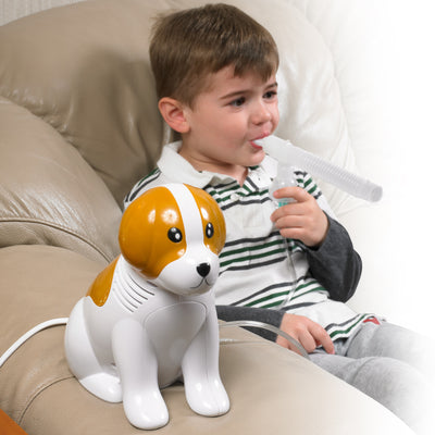 Drive Beagle Pediatric Nebulizer System being used at home.