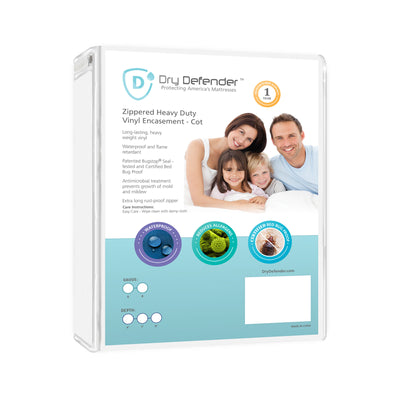 Dry Defender Twin XL Heavy Duty Vinyl - 39x80x7 inches (Zippered) - Purchase in Multiples of 6 Only