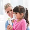 Innospire Go Portable Mesh Nebulizer - Being used with a pediatric mask