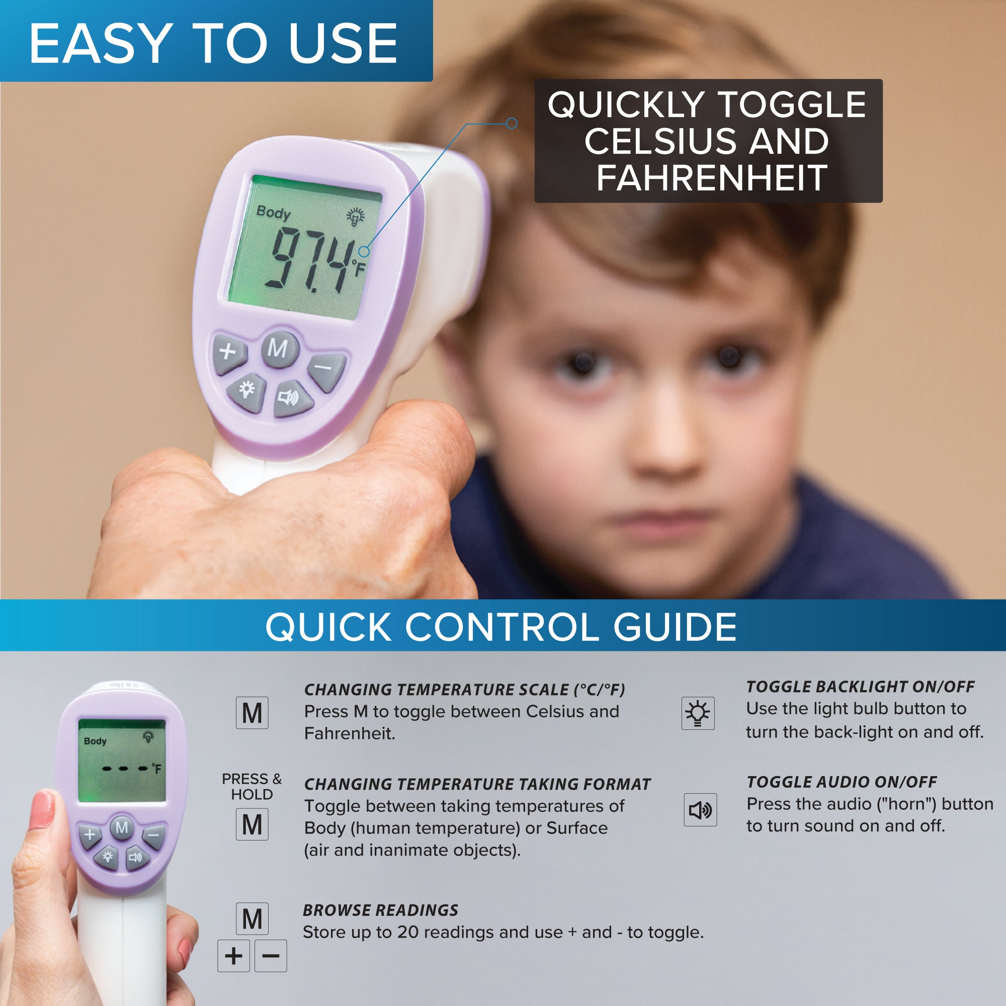 Forehead Thermometor Digital Infrared Body Temporal Thermometor