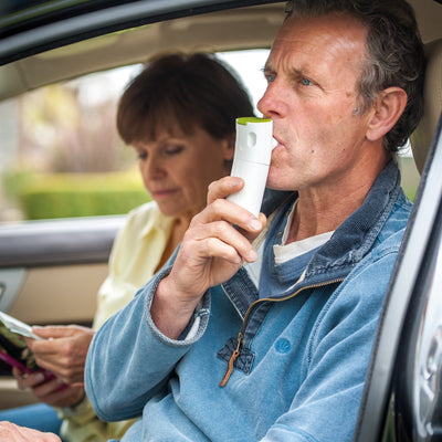 Innospire Go Portable Mesh Nebulizer - Being used in a car