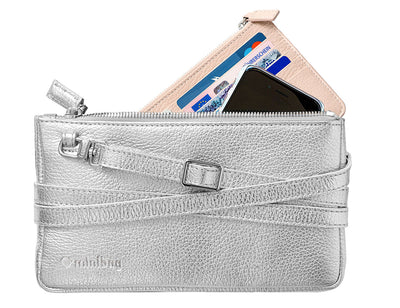 minibag metallic silver + Wallet