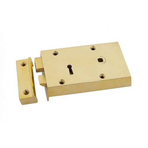 Polished brass right hand rim lock, small 83580