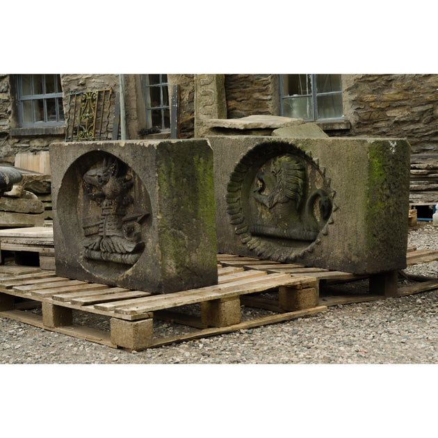 A Pair of 19th Century Carved Stone Crests