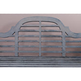 Blue Painted Teak Lutyens Bench