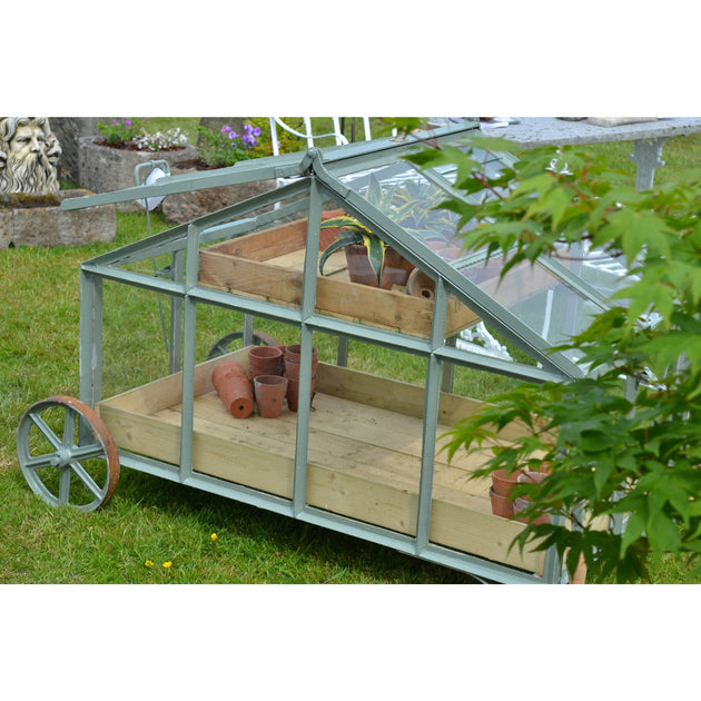 mobile barrowlite greenhouse, reclaimed glass original victorian design seed tray david la verscha design