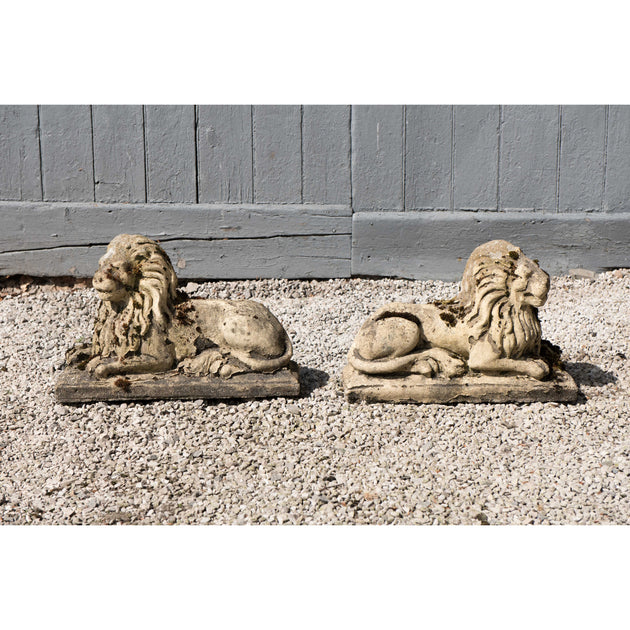 Weathered Composition Stone Lions