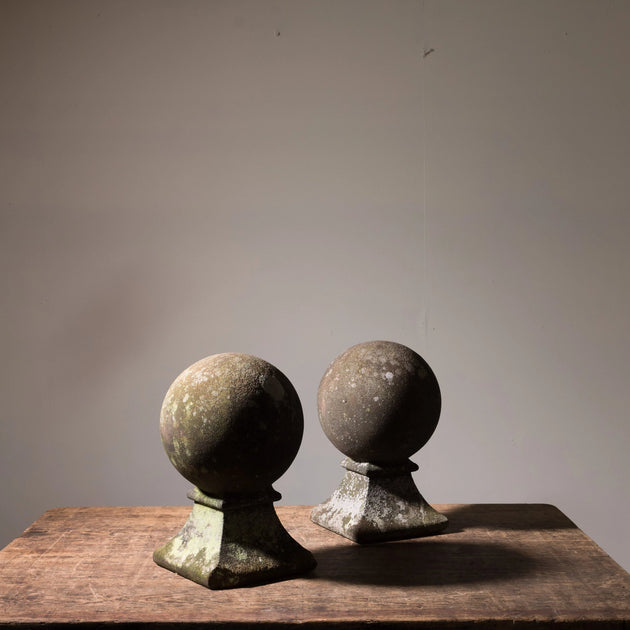 Antique Carved Stone Ball Finials