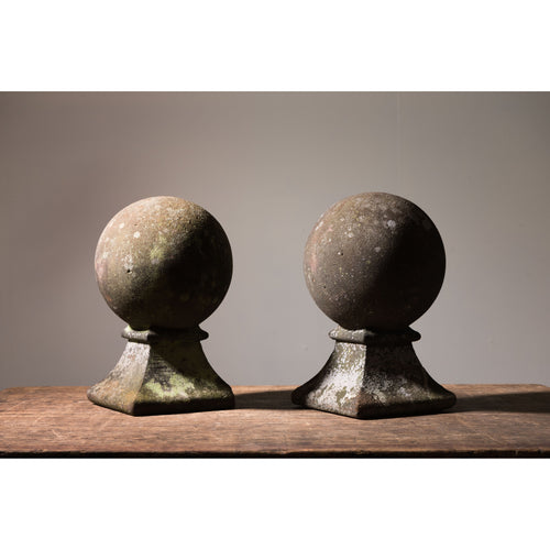 Carved Stone Ball Finials